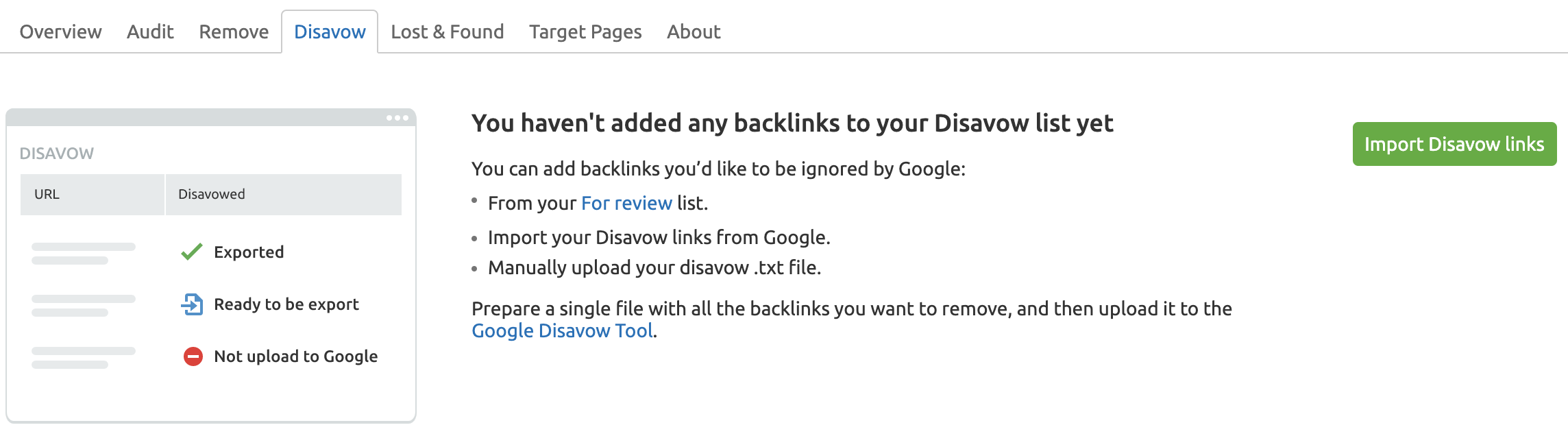 Backlink Audit Import disavow file