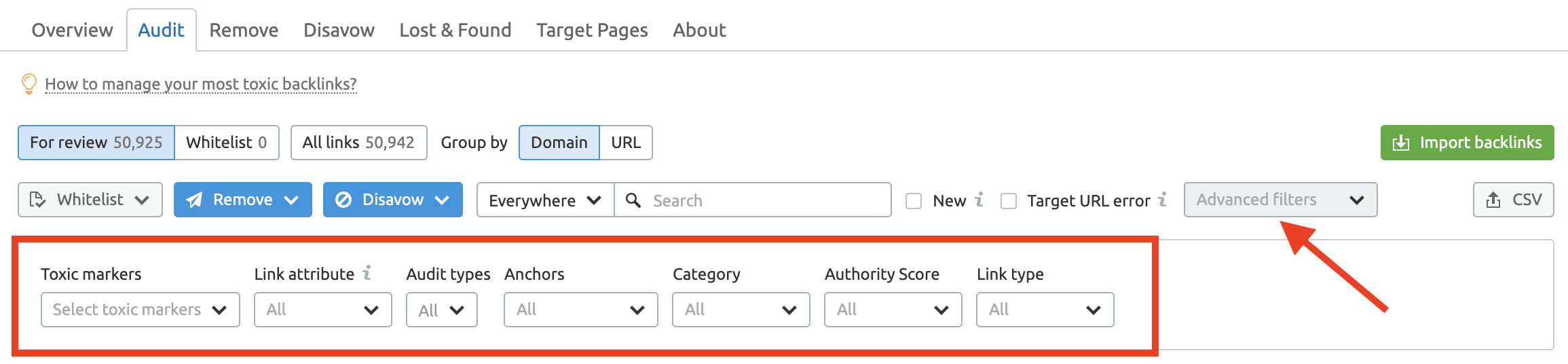 Backlink Audit advanced filters