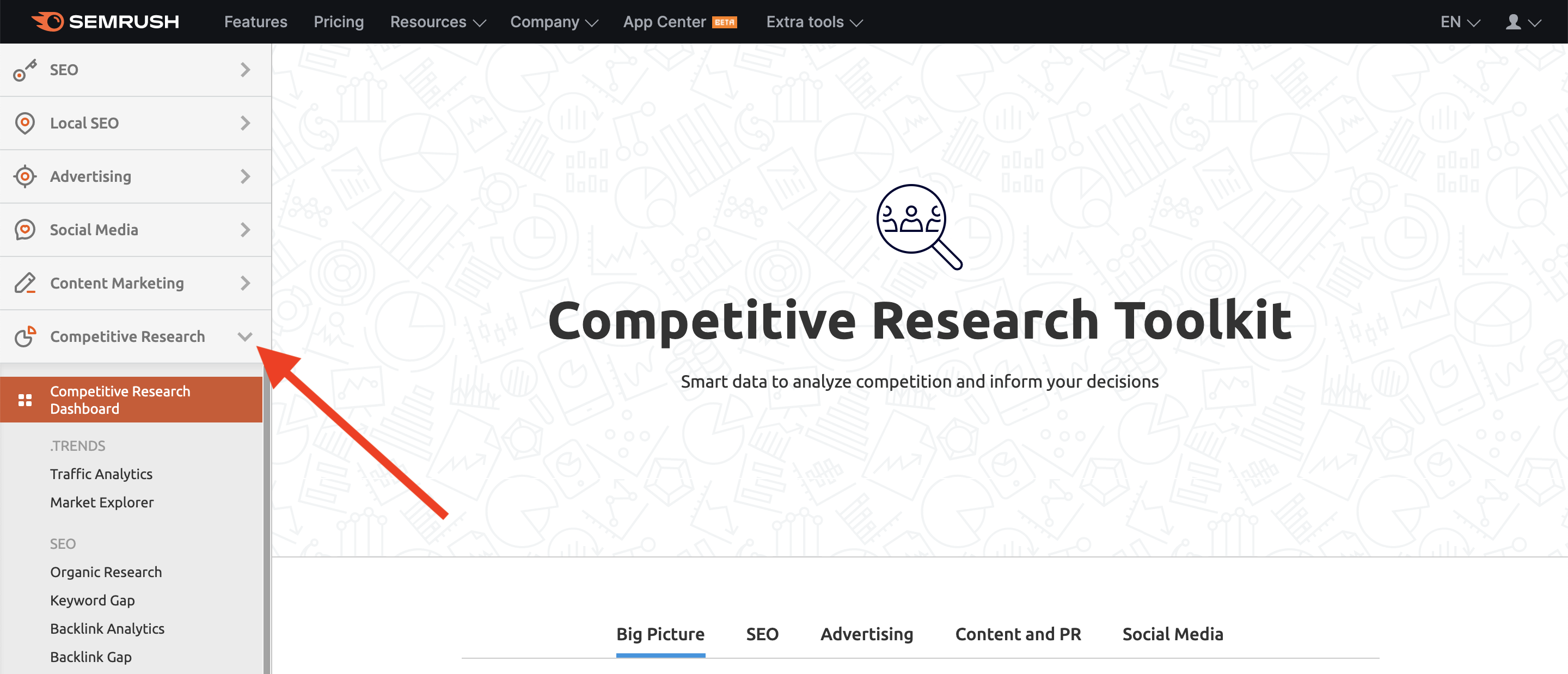 Competitive research toolkit