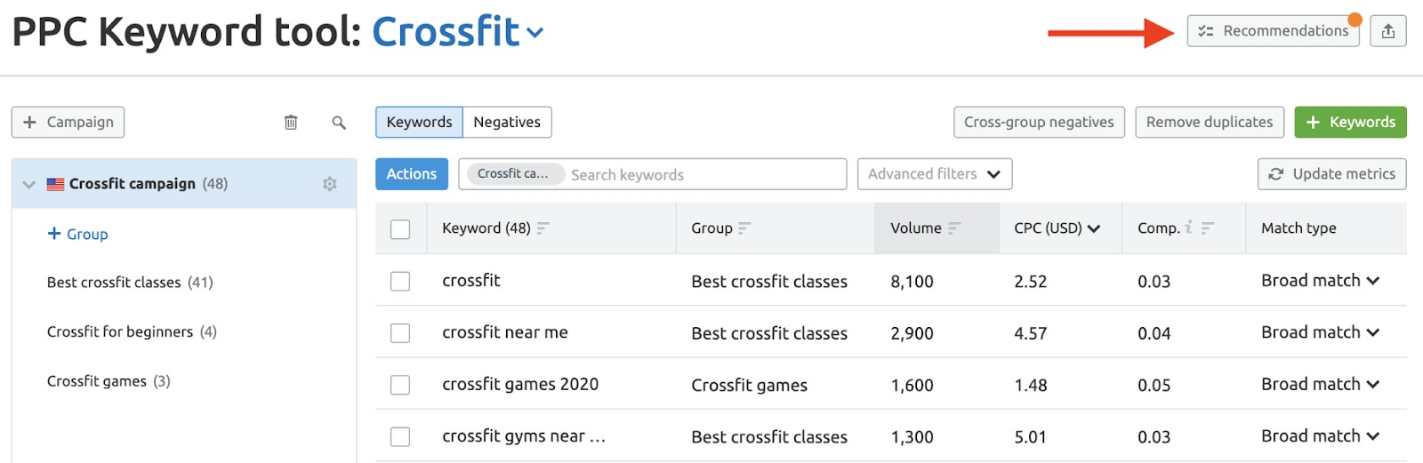 PPC Keyword Tool Recommendations image 1