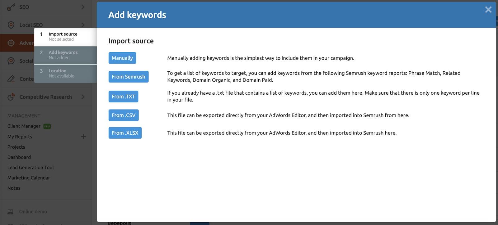 Configuring the PPC Keyword Tool image 2