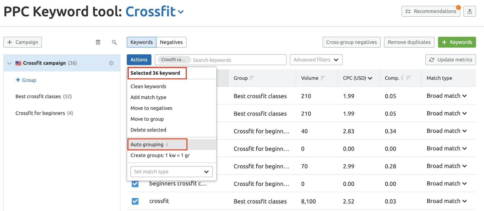 Adding Keywords and Ad Groups to PPC Keyword Tool image 3