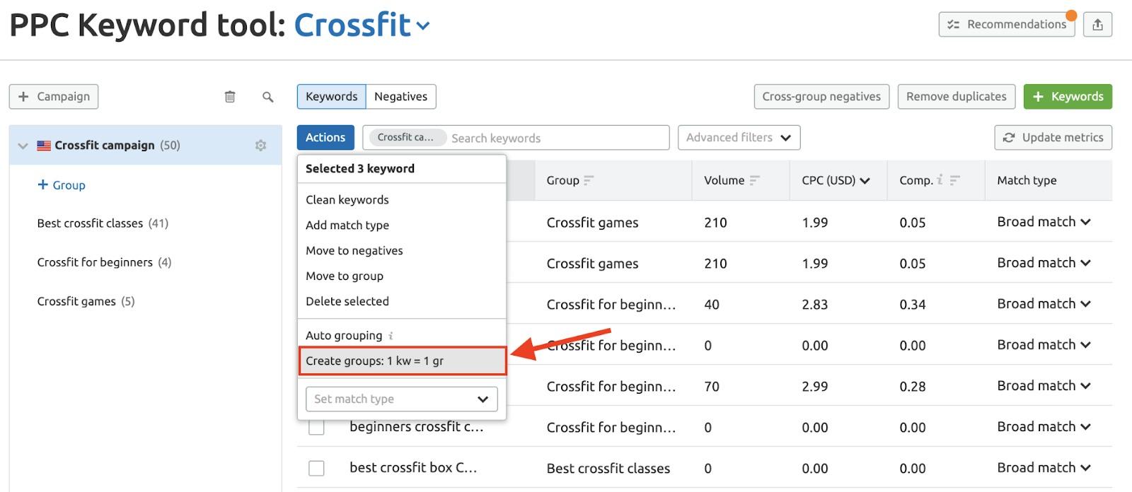 Adding Keywords and Ad Groups to PPC Keyword Tool image 10